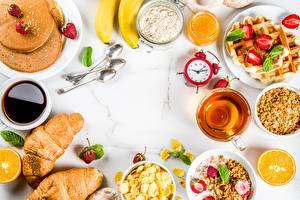 Обои Сок Круассан Блины Будильник Завтрак