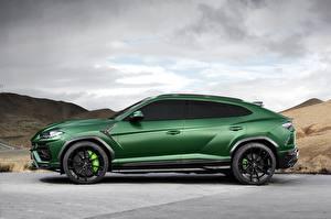 Фотографии Lamborghini Зеленая Сбоку 2018 TopCar Urus машина