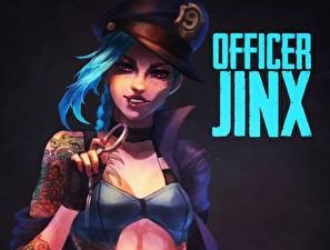 Фотографии League of Legends Шляпы Officer jinx компьютерная игра Девушки