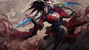 Фото League of Legends Воины Splash, Akali, Blood Moon Девушки