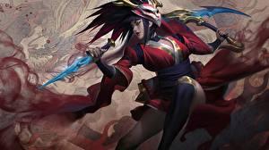Фото League of Legends Воины Splash, Akali, Blood Moon компьютерная игра Девушки