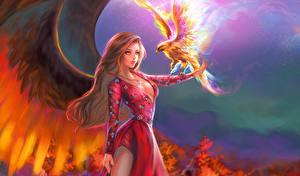 Картинки Волшебные животные Птицы Крылья Платье Девушки