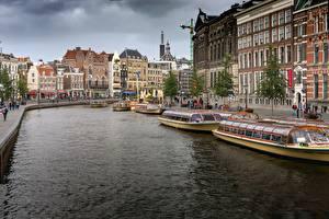 Фотографии Пирсы Речные суда Нидерланды Амстердам Водный канал Города