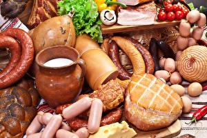Фото Мясные продукты Колбаса Сосиска Ветчина Овощи Кувшин