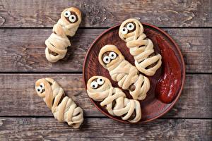 Фотографии Мясные продукты Доски Дизайн Тарелка Кетчуп Пища