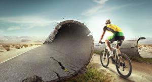 Картинка Мужчины Велосипед Сзади Асфальт Спорт