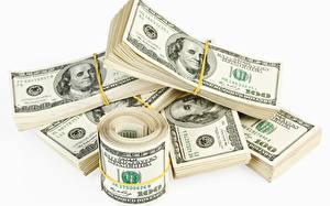 Фотография Деньги Купюры Доллары Белый фон
