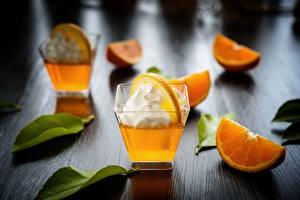 Обои Апельсин Коктейль Сливки Рюмки Пища