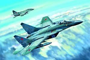 Фотография Рисованные Самолеты Истребители МиГ-29 Русские Mig-29C