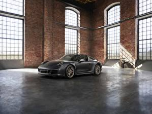 Картинки Porsche Серый Родстер 4x4 Biturbo 911 Targa 4 GTS Exclusive Manufaktur Edition Автомобили