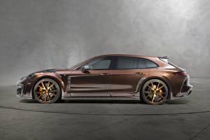 Фотографии Porsche Сбоку Коричневый Panamera Turismo 2018 Sport Mansory Автомобили