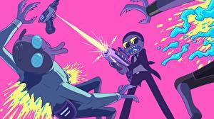 Обои Выстрел Мальчики Инопланетяне Rick and Morty Мультфильмы
