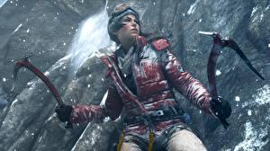 Обои Rise of the Tomb Raider Лара Крофт Куртки Альпинисты компьютерная игра 3D_Графика Девушки