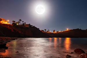 Фото Испания Залив Утес Ночные Луна Bolnuevo Природа