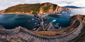 Фотографии Испания Остров Дороги Залив Лестница Gazteludatxe Природа