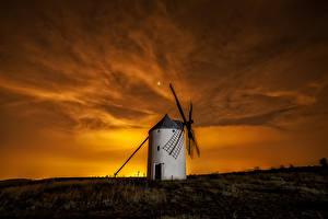 Обои Испания Рассветы и закаты Небо Мельница Природа