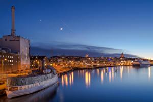 Фотографии Швеция Здания Речка Пирсы Корабли Ночные Gothenburg Города