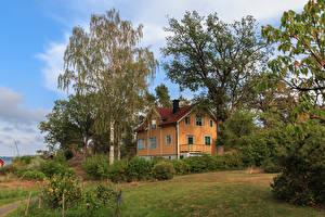 Фотография Швеция Дома Особняк Дизайн Деревья Кусты Saltsjobaden Города
