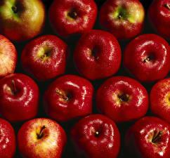Картинка Текстура Яблоки Красных Капли Продукты питания