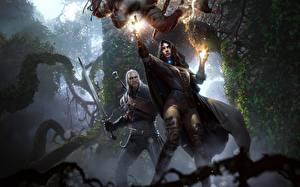 Картинки The Witcher 3: Wild Hunt Геральт из Ривии Волшебство Маг волшебник Мечи Yennefer Игры Фэнтези Девушки
