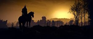 Обои The Witcher 3: Wild Hunt Лошадь Силуэты Игры 3D_Графика
