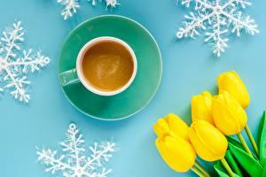 Фото Тюльпаны Кофе Чашка Снежинки Цветы