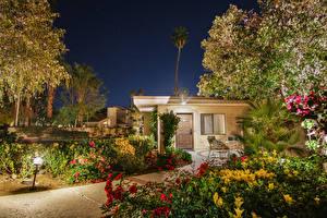 Фото Штаты Дома Калифорния Особняк В ночи Кусты Уличные фонари город