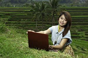 Картинки Азиаты Шатенка Ноутбуки Улыбка Смотрит Девушки