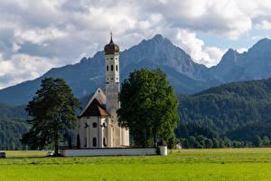 Картинка Австрия Горы Церковь Альп Деревья Природа