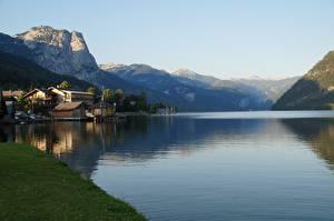 Картинка Австрия Лето Горы Озеро Альпы Утес Grundlsee Природа