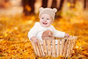 Картинка Осенние Младенцы Шапки Улыбается Взгляд ребёнок