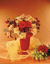 Картинки Букет Розы Мимозы Герберы Вазе Цветы