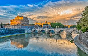 Фото Мост Рим Италия Река Водный канал Ponte Sant'Angelo