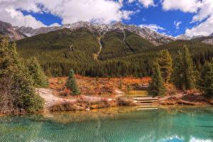 Фото Канада Осень Парк Горы Озеро Лес Банф