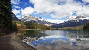 Фотографии Канада Парки Горы Озеро Леса Побережье Yoho National Park Природа