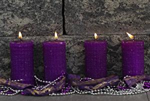 Обои Свечи Пламя Стена Фиолетовый