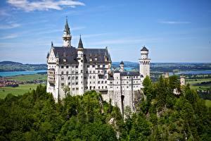 Картинки Замок Германия Лес Нойшванштайн Бавария
