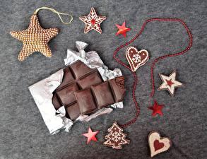 Обои Шоколад Шоколадная плитка Звездочки Серце