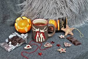 Фотографии Шоколад Чай Апельсин Кружка Звездочки Сердечко Еда
