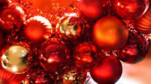 Обои Новый год Шарики Красный