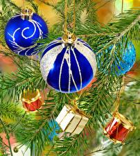Фотографии Рождество Ветки Шар Подарки