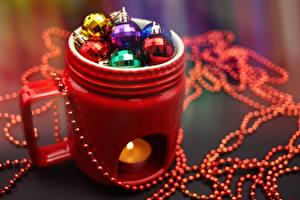 Фото Новый год Свечи Чашка Шар