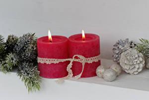 Фотографии Рождество Свечи Шишки Шар