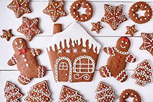 Фото Рождество Печенье Дома Доски Дизайн Звездочки Продукты питания
