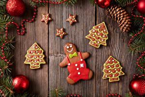 Фотография Рождество Печенье Доски Дизайн Ветвь Шишки Шарики Новогодняя ёлка Пища