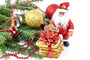 Фотография Новый год Праздники Вблизи Шар Подарок Санта-Клаус