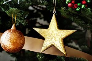 Картинка Рождество Праздники Вблизи Шар Звездочки