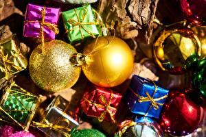 Фото Рождество Праздники Вблизи Подарки Шарики