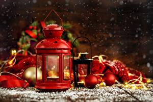 Фотографии Рождество Фонарь Шарики