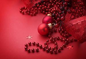 Картинка Рождество Красный фон Шар Красный